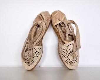 Vintage Natural Knit Platform Wedge Strappy Lace Sandals Off White Crochet Espadrilles