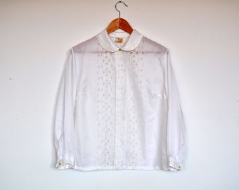 Vintage Oversized Ivory Semi Sheer Lace Front Accordion Peter Pan Collar Blouse Top