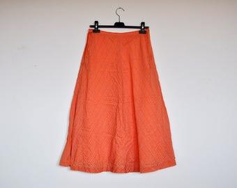 Vintage Silky Peach Orange Chevron High Waist A-line Knee Length Flare Striped Skirt