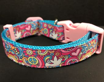 Adjustable Dog Collar Peace Sign Pink  Hippy Dog