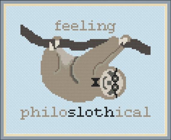 Feeling Philoslothical Nerdy Sloth Cross Stitch Pattern
