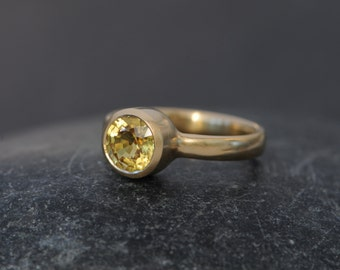 Yellow Sapphire Engagement Ring - 18K Gold Sapphire Engagement Ring - Yellow Gem Engagement Ring - Size 6 Ready to ship - FREE SHIPPING