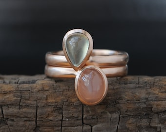 9K Rose Gold Stacking Rings - Peach Moonstone and Prehnite Stacking Ring - Pear Stacking Ring - Cabochon Stacking Ring