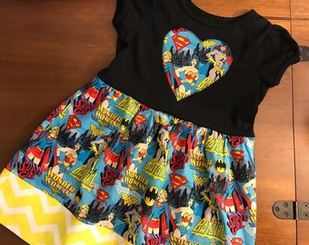 Super Hero Dress / Bat Girl Dress / Super Girl Dress / Wonder Woman Dress / Super Hero Birthday Dress / Wonder Woman Birthday / Super Hero
