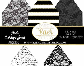 50% off:Printable Envelope Liners, Black Lace Envelope Liners, Black Striped envelope liners, A6 envelope liner, A7 envelope liner,  #82316