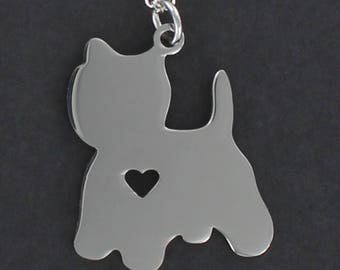 Yorkshire Terrier Silhouette Necklace - Tiny Heart Cutout Large Stainless Charm on a FREE Plated Chain