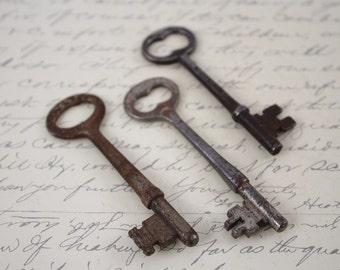 Antique Skeleton Keys - Keys to the Farmhouse - Rustic Farmhouse Decor - Old Door Key Bit and Tumbler