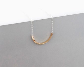 Arc Minimalist Chain Necklace, Sterling Brass and Silver, Dainty Half-Round Chain Necklace, Camillette80