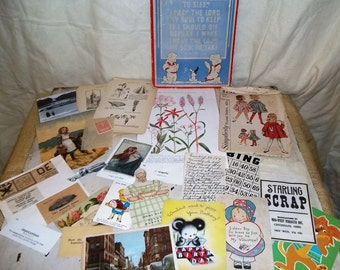 Destash Lot of Vintage Ephemera for Altered Art, Art Journals, Shadowbox Art, Scrapbooking Etc. (100 plus)