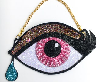 Pink Glitter Eye Clutch Handbag