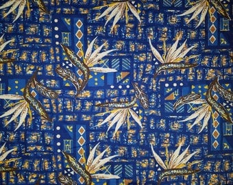 Alfred Shaheen vintage fabric yardage 3 yards Hawaiian birds of paradise tropical