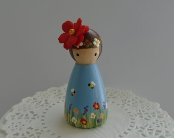 Hand Painted Wooden Peg Doll - Garden Theme