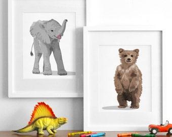 Gender nuetral nursery art, baby animal drawings, modern animal prints -pick any 2- childrens ilustrations - modern nursery art