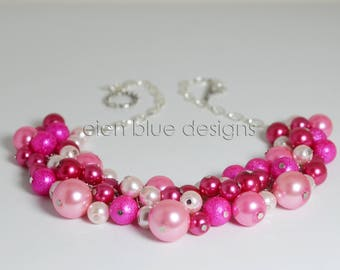 Shades of Pink Pearl Necklace, Pink Pearl Cluster Necklace, Hot Pink Bib Necklace, Rose Pink Bauble Necklace, Shades of Pink Chunky Necklace