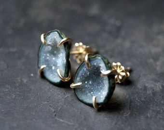 Light Grey Geode Studs in 14kt Yellow Gold Prong Settings