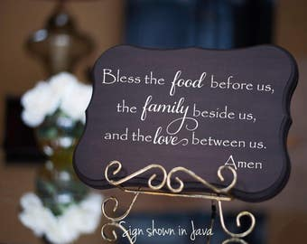 FAMILY Wall Sign - Bless the Food Before Us - Wedding Gift - House Warming Gift -Anniversary Gifts -Mother's Day Gifts - Welcome Signs