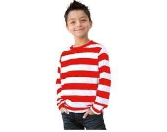 Men's Long Sleeve Red & White Striped Shirt