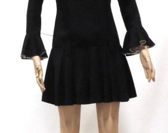 1960s Dress Vintage Mini LBD Piccolo Petites Frock Long Sleeve Ruffle Drop Waist Circle Skirt