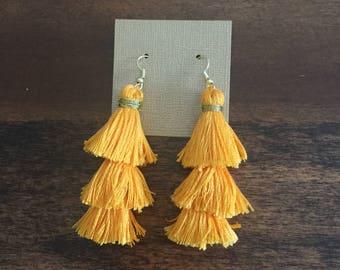 Tangerine fringe earrings