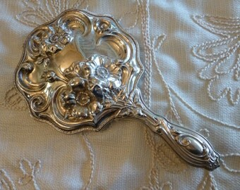 Victorian Silver Mirror Repousse Vanity Hand Mirror Ornate Floral Beveled Glass Vintage Antique