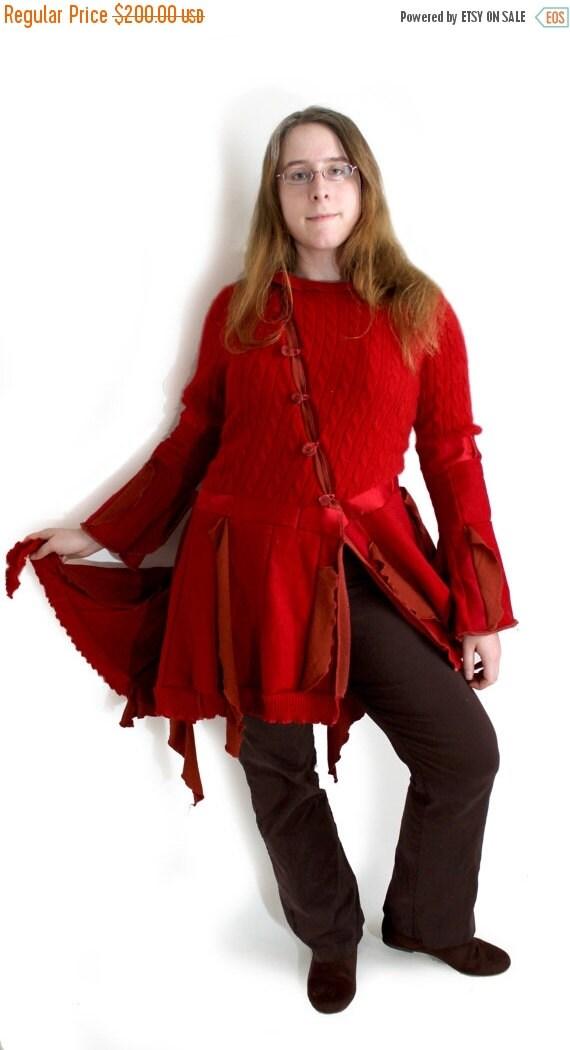 80% OFF BLACK FRIDAY Upcycled sweater coat, handmade coat, red coat, Crimson flame