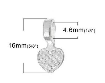 200 Heart Bails - Silver Plated - WHOLESALE - Glue On - 16x8mm  - Ships IMMEDIATELY from California - B1248c