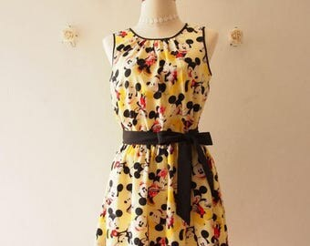 Clearance SALE Special Occasion Dress Vintage Sundress Women Mickey Mouse Dress Pale Yellow Gift for Her Yellow Summer Dress Tea Party Dr...