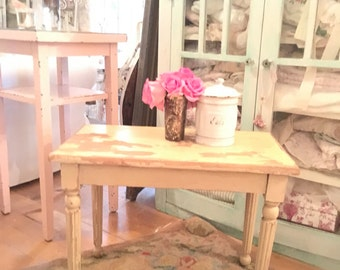 Reserved vintage farmhouse chippy white wood  side table  stool