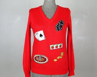 Vintage 1960s Souvenir Sweater 60s Red Novelty Las Vegas Gambling Pullover Size S