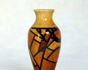 Random Segmented 4 Cherries Wood Turned Miniature Vase