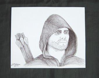 Stephen Amell as The Arrow original art magnet, black and white art