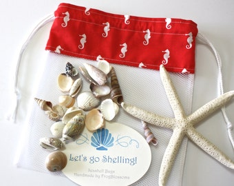 Sea Shell Bags READY TO SHIP, Drawstring SeaShell Bag, Red & White Seahorses Fabric and Mesh Beach Bag, Shelling Bag, Shell Collecting Bag