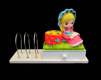 SUPER CUTE Vintage '60s Holiday Fair Big Eye Girl in Bonnet Pencil Holder Bright Florescent Colors Chalkware Desk Organizer Made in Japan