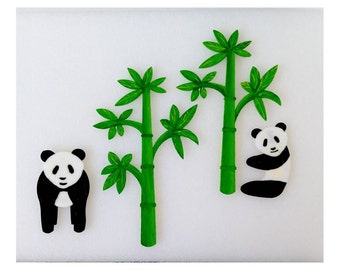 Magnets - Wall Art - Hand Oil Painted And 3D Print - Include small pieces of Mount Tape As Alternative- Panda and Bamboo