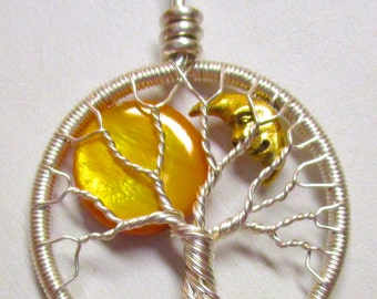 The Sun and the Moon Fine Silver Tree of Life, Sun and the Moon Necklace, Fine Silver Necklace