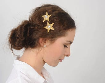 Gold Star Hair Pins with Rhinestones, Wedding Hair Pieces, Gold Hair Pins, Bridal Hair Accessories, Constellation Bobby Pins, Hair Jewelry