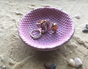 Mermaid Ring Dish - Sculpted Clay - Decor - Mermaid Scales - Glow in the Dark - Purple