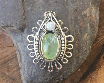 Wire Wrapped Pendant - Heady Wire Wrap - Prehnite and Moonstone - Prehnite Wire Wrap - Statement Jewelry - Gemstone Pendant - Flower Pendant