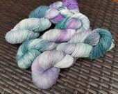 Deep Midwinter: 100g hand painted self striping merino/nylon sock yarn