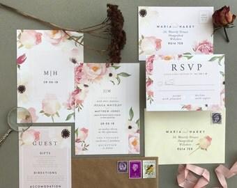 FLORENCE No.2 | Rustic Wedding Invitations, Wedding Invites, Wedding Invite, Blush and Rose Wedding Invitation Rustic - Sample Set
