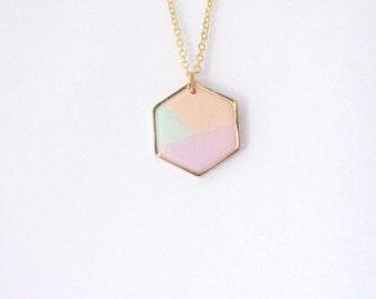 Pastel hexagon necklace. Minimalistic necklace.  Fashion necklace  Mint necklace