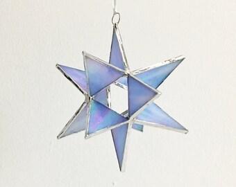 "12 Point Moravian Star. Iridescent Blue Star. 4,5"""