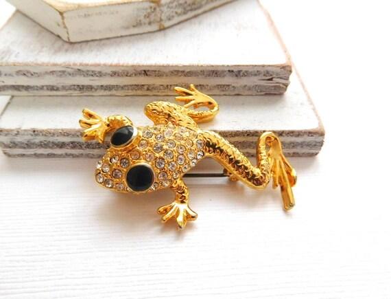 Retro Bright Gold Clear Rhinestone Black Enamel Eye Tree Frog Brooch Pin N11