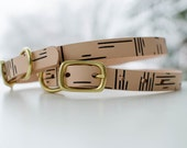 SALE - Screen printed leather collar