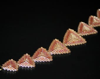 Triangle Bracelet, Peyote Bracelet, Brown Beaded Geometric Jewelry, Delica Seed bead Peyote stitch