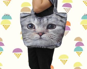 Cat bag, cat tote, pet tote, cat portrait bag, cat print bag, pet portrait bag, pet lover bag, animal portrait bag, BT 1173