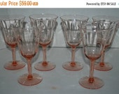 Christmas sale Pink wine glasses vintage pink  stemware set of 6  paneled design