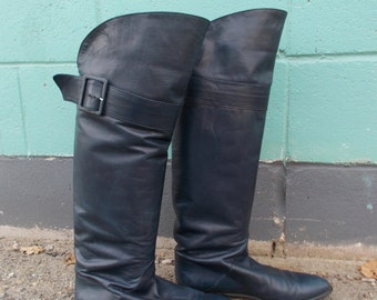 vintage navy over the knee boots - 80s
