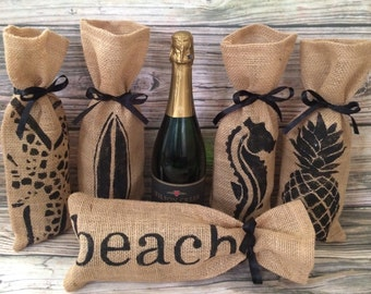 Burlap Wine Gift Bag Set, Burlap Gift Bag, Burlap Wine Bag, Beach Wine Bag, Adult Beverage Gift, Wine Gift Set