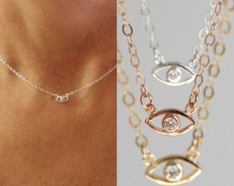 NEW mini CZ Evil eye charm necklace  - tiny cz evil eye - mini evil eye necklace - protection necklace - silver eye-gold eye - rose gold eye